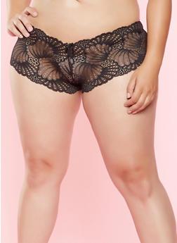 Plus Size Lace Cheeky Boyshort Panty - 7166068062913
