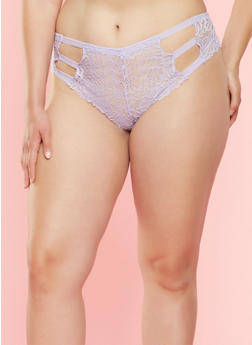 Plus Size Caged Lace Cheeky Panties - 7166068062924