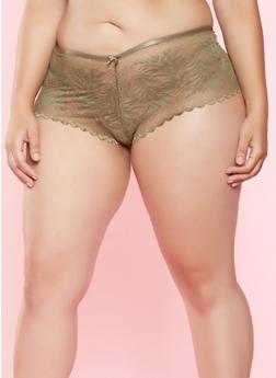 Plus Size Lace Boyshort Panty - 7166068063114