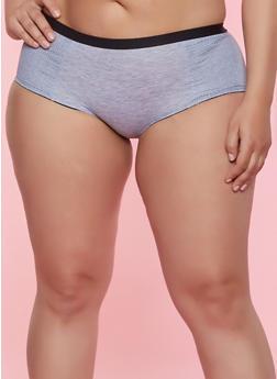 Plus Size Jersey Mesh Trim Cheeky Panty - 7166068063205