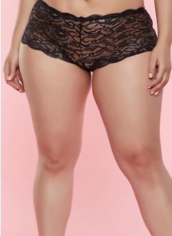 Plus Size Keyhole Lace Boyshort Panty - 7166068063413