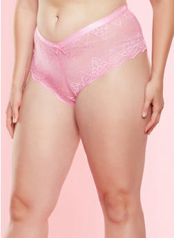Plus Size Lace Cheeky Boyshort Panty - 7166068063728