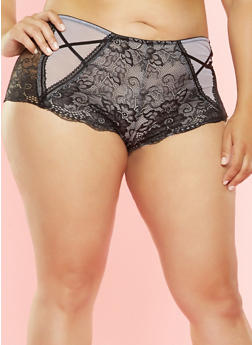 Plus Size Mesh and Lace Boyshort Panties - 7166068063929