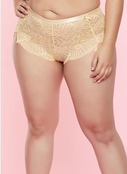 Plus Size Lace Boyshort Panty - 7166068063935