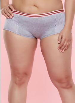 Plus Size Jersey Mesh Detail Boyshort Panty - 7166068064132