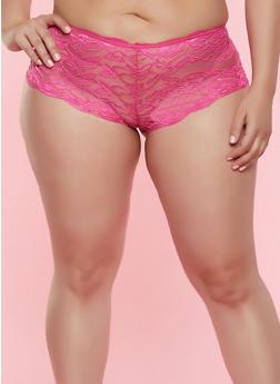 Plus Size Lace Keyhole Back Boyshort Panty - 7166068064139