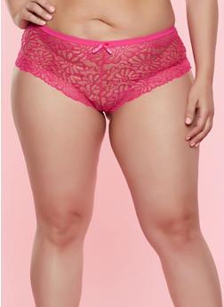 Plus Size Keyhole Back Lace Boyshort Panty - 7166068064204