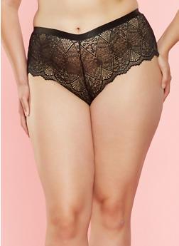 Plus Size Lace Boyshort Panty - 7166068067728