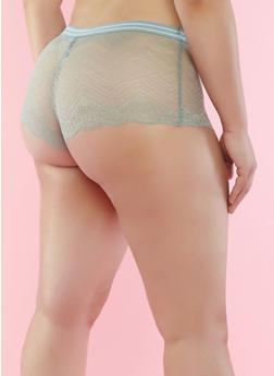 Plus Size Scalloped Lace Boyshort Panties - 7166068069078