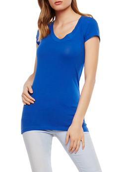 Basic V Neck T Shirt - RYL BLUE - 7202054265002