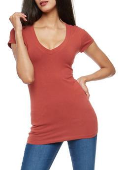 Basic V Neck T Shirt - 7202054265002