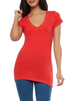 Basic V Neck T Shirt - HOT RED - 7202054265002