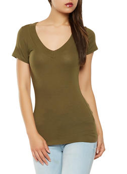 Solid V Neck T Shirt - 7202054265058