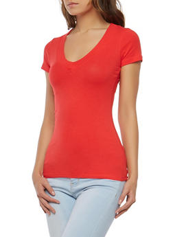 Solid V Neck T Shirt - 7202054265058 b00d03c3f