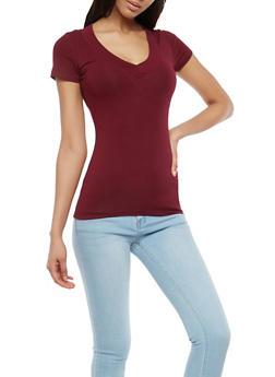 Solid V Neck T Shirt - 7202054265058