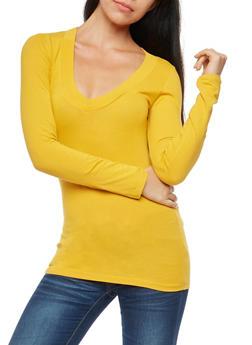 Basic Wide V Neck Top - 7204054261573