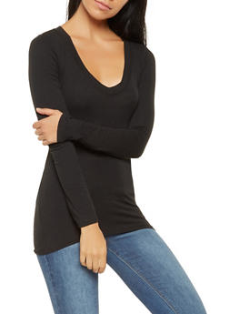 b08992d3bb4c Basic Long Sleeve V Neck Tee - 7204054264900