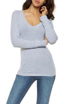 8095d90f335e2 Basic Long Sleeve V Neck Tee - 7204054264900