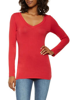 Basic Long Sleeve V Neck Tee - 7204054264900