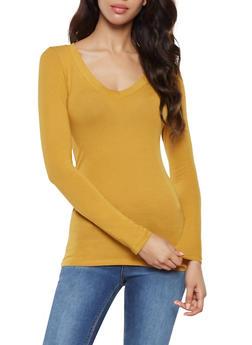 Basic Long Sleeve V Neck Tee - 7204054264900