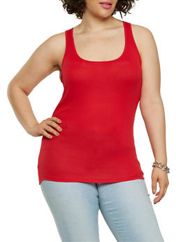 Plus Size Ribbed Knit Tank Top - 7241054266600