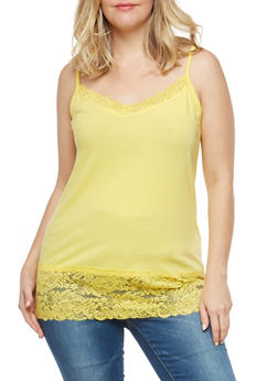 Plus Size Lace Trim Cami - 7241054268329