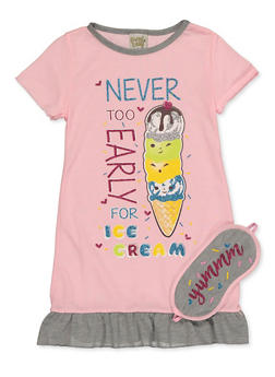 Girls 4-16 Ice Cream Nightgown and Sleep Mask - 7568054730299