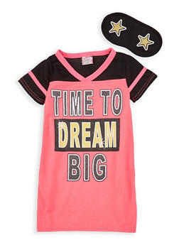 Girls 4-14 Dream Graphic Nightgown with Sleep Mask - 7568054730301