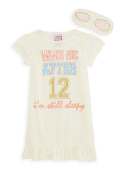 Girls 4-16 Graphic Nightgown with Sleep Mask - 7568054730302