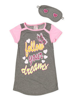 Girls 4-16 Follow Your Dreams Nightgown with Sleep Mask - 7568054730304