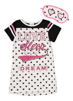 Girls 4-16 Love Sleep Dream Nightgown with Sleep Mask - WHITE - 7568054730305