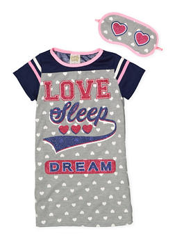 Girls 4-16 Love Sleep Dream Nightgown with Sleep Mask - 7568054730305