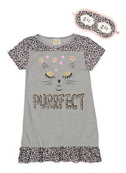 Girls 4-16 Purrfect Nightgown with Sleep Mask - 7568054730306