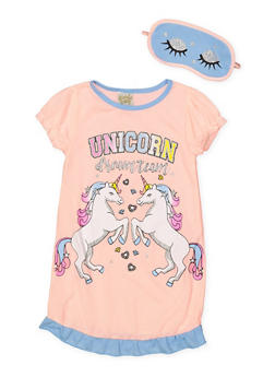 Girls 4-16 Unicorn Dream Team Nightgown with Sleep Mask - 7568054730307