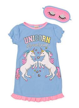 Girls 4-16 Unicorn Dream Team Nightgown with Sleep Mask - 7568054730307