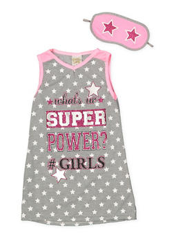 Girls 4-16 Sleeveless Graphic Nightgown with Sleep Mask - 7568054730308
