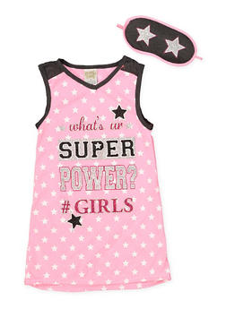 Girls 4-16 Sleeveless Graphic Nightgown with Sleep Mask - PINK - 7568054730308