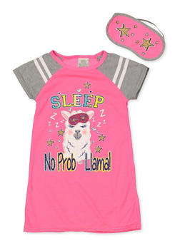 Girls 4-16 Sleep No Prob Llama Nightgown with Sleep Mask - 7568054730309
