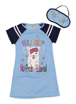 Girls 4-16 Sleep No Prob Llama Nightgown with Sleep Mask - 7568054730309