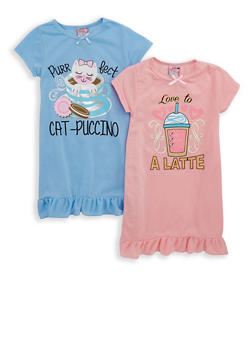 Girls 4-16 Set of 2 Coffee Graphic Nightgowns - 7568054730311