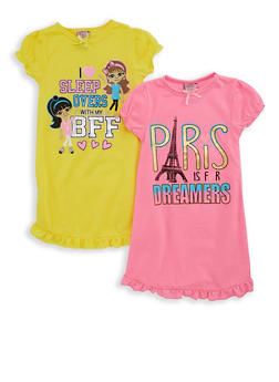 Girls 4-16 Set of 2 Foil Graphic Nightgowns - 7568054730313