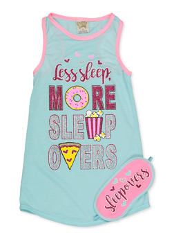 Girls 4-16 Less Sleep More Sleepovers Nightgown with Sleepmask - 7568054730314