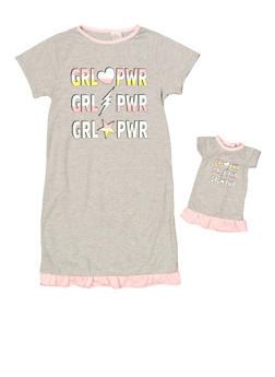 Girls 4-16 Grl Pwr Nightgown Set - 7568054730316