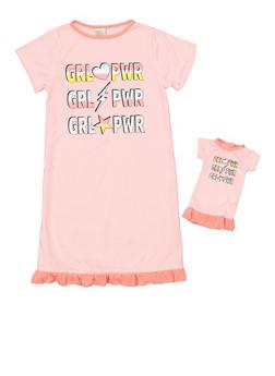 Girls 4-16 Grl Pwr Nightgown Set - 7568054730316
