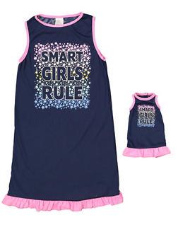Girls 4-16 Smart Girls Rule Nightgown Set - 7568054730317