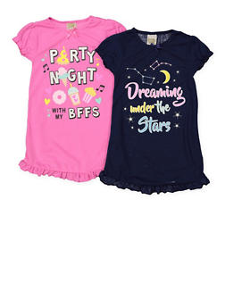 Girls 4-14 Set of 2 Graphic Ruffled Nightgowns | 7568054730335 - 7568054730335