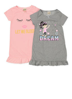 Girls 4-14 Set of 2 Graphic Ruffled Nightgowns | 7568054730336 - 7568054730336