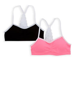 Girls 4-16 Set of 2 Lace Detail Cami Bras - 7568054730382