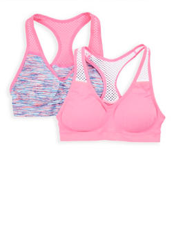 Girls 4-16 Padded Fishnet Accent Sports Bra - 7568054730384