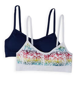Girls 7-16 2 Pack Butterfly Seamless Padded Cami Bras - 7568054730425